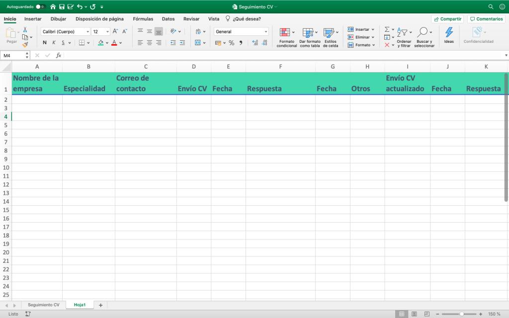 Una idea de cómo organizar un documento en Excel para llevar la cuenta de las agencias a las que enviamos el CV, cuando y si hemos recibido respuesta. También anotaremos la fecha en la que les enviemos nuestro currículum actualizado, y así sucesivamente.