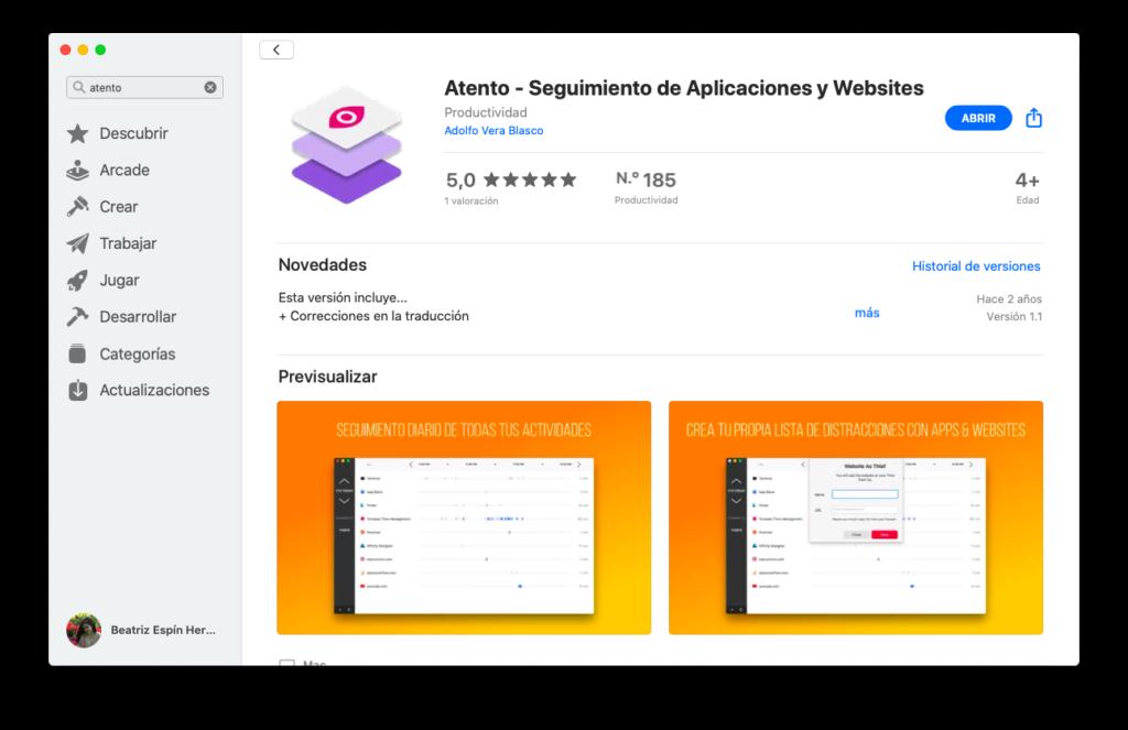 Pantalla de descarga en la App Store de la aplicación Atento, que hace un seguimiento del tiempo en otras aplicaciones y páginas web para decirnos cuáles roban tiempo a nuestra productividad.